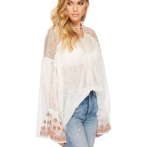 Free People Dotted Tulle White Blouse Bell Sleeves